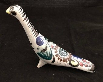 Vintage Mexican Hand Painted and Glazed Pottery Bird