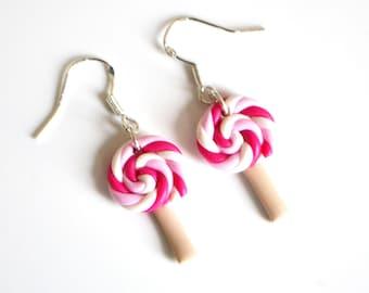 Rosa Lutscher, Bonbons, Süßigkeiten Ohrringe