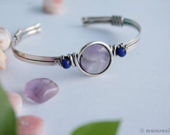 Bracelet ethnique améthyste - argent plaqué - mauve bleu roi - ajustable