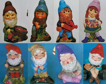 Unpainted Ceramic Bisque Set of 8 Gnomes - Fairy Garden Set of Dwarves - DIY Ready to Paint You Paint Your Own U Paint Ceramic Bisque