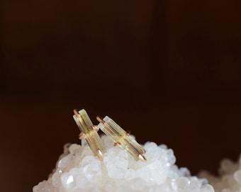 Heliodor Studs. Gold Fill Yellow Stone Earrings. Light Yellow Heliodor Earrings. Delicate Everyday Stone Studs. Gemstone Earrings