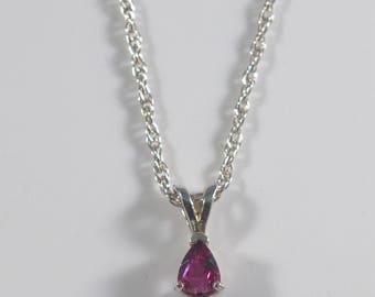 """Handmade Feminine Elegant Pink Topaz Pear Shape Pendant On 18"""" Sterling Silver Rope Chain"""