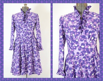 "1960s-1970s  Fred Rothschild of California Floral Purple Dress with Ruffled Collar and Cuffs - 31"" Waist - True Vintage"