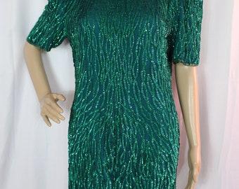 Laurence Kazar green sequined silk dress