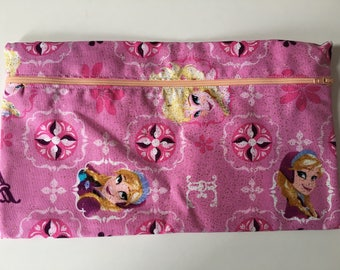 Pencil case. Back to school. Stationary. Frozen themed. Elsa and anna. Pink and girly. Pens and pencils.