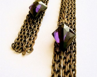 ONE of a KIND. Chic Couture Vintage Amethyst Glass & Brass Chain Dangle Earrings- Featured in Fashion Week in LA