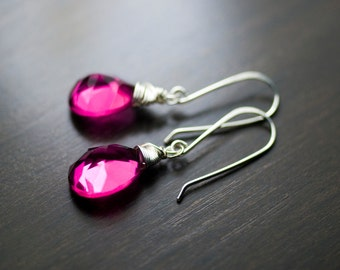 "Hot Pink Quartz Gemstone Sterling Silver Wire Wrapped Earrings - ""Lilies"""