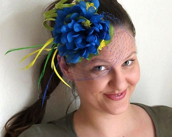 Blue fascinator yellow green wedding hat fascinator hat BRAZIL