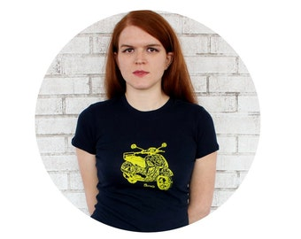 Scooter Tshirt, Hand Printed Short Sleeved Ladies Fitted Graphic Tee Shirt, Dark Navy Blue, Cotton Crewneck, Junior fit, World Travel Scoot