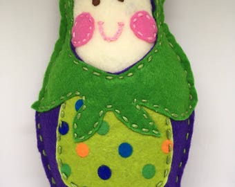 Green and Purple Felt Matryoshka Stuffed Doll