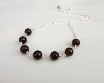 Smoky quartz necklace minimal chain necklace brown stone necklace minimalist necklace for women
