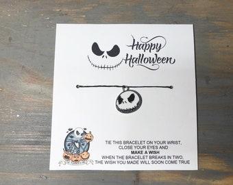 Happy Halloween wish bracelet-nightmare before Christmas Halloween wish bracelet-jack charm bracelet