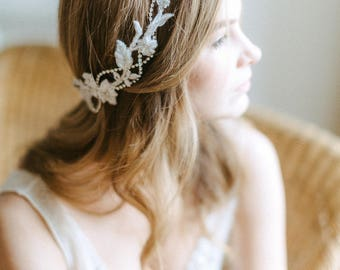Wedding hair accessory - Embroidered lace wreath - Bridal lace headpiece - Wedding lace hairpiece - Bridal headband - Wedding adornment