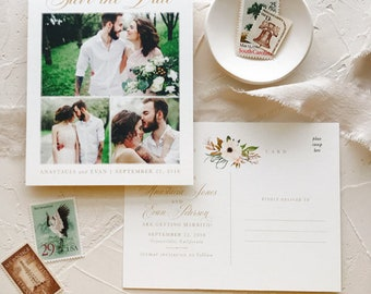 Custom Photo Save the Date Postcard, Rustic Boho Save the Date Cards