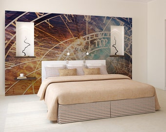 Astrology clock wallpaper, wall art, temporary wallpaper, peel and stick, wall covering