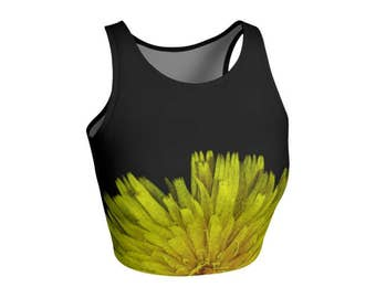 Floral Cropped Top, Gym Clothes, Black Yellow, Yoga Clothing, Stretch Spandex, Running, Fitness, Festival Fashion Sportswear, Dandelion