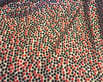 KNIT Remix Red by Robert Kaufman. Fabric by the Yard. Red and Black Scattered Dots