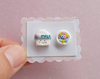 Kawaii Earrings - Milk and cereal earrings - Food Earrings-  Kawaii Gifts - Mismatch Earrings - Kawaii Stud Earrings - Mothers Day Gift