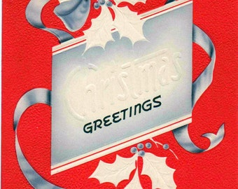 Christmas Card, Beautiful c1960s  red and silver, used, in good shape