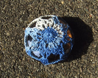 Blue Starburst Tiny Mini Paperweight crocheted lace fiber art thread crochet over champagne glass pebble