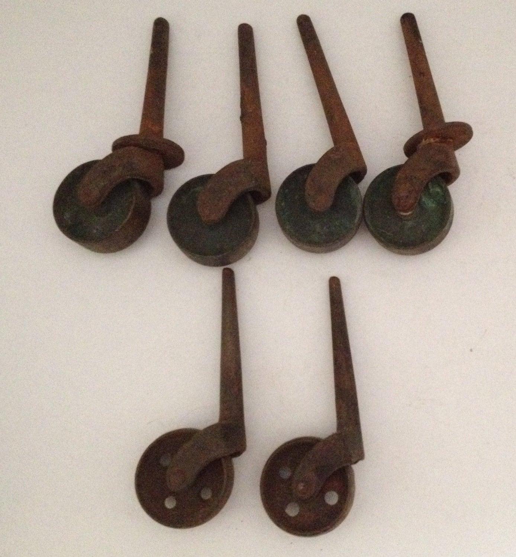 Antique Stem Caster Wheels Lot of 6 Industrial 3 inch Peg 1