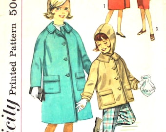 Girl's Coat in Two Lengths Size 8 with Detachable Hood Simplicity 4156