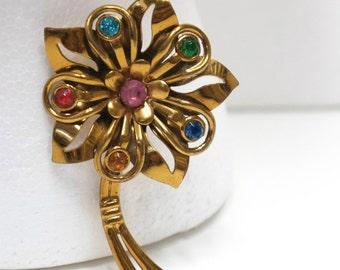 Vintage Pin Brooch Flower Rhinestones Art Nouveau Brass pin