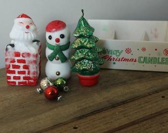 "Vintage Christmas Candle Set ""Novelty Christmas Candles"" - Christmas Tree, Santa, Snowman"