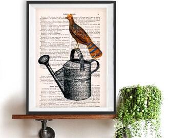 Bird on watering can Print, Bird Artwork, Watering can print, Gift for Women, Office Art, Wall Art Prints, Wall Decor, Vintage Bird Print