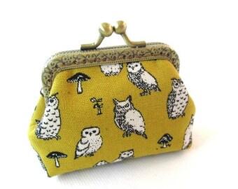 Mustard yellow frame coin pouch cotton linen fabric owl print, bronze kiss lock clasp purse metal frame purse