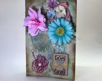 Vintage shabby chic up-cycled junk journal for daily journalling, diary, art, wedding planning