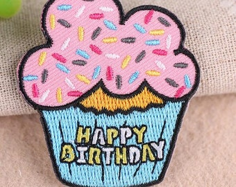 Wholesale  bulk lot  50pcs Happy Birthday Cupcake  embroidered   iron  on patch  DIY    4.7x5.4cm  2inch