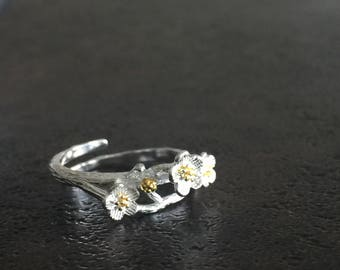 Sterling Silver Flower Ring/ 24k Gold Plated Over Sterling Silver