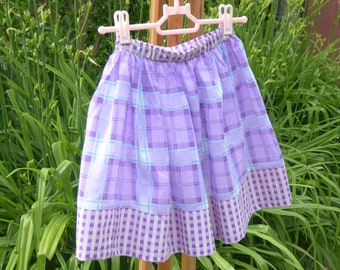 Skirt purple cotton voile 5/7 years