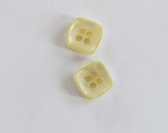Button * vintage yellow square to Pearly reflection (set of 2)