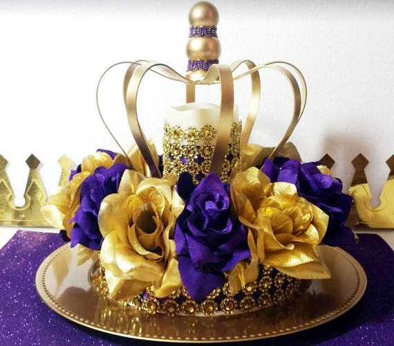 NEW Purple And Gold Baby Shower CROWN Centerpiece / Royal