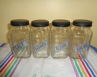Kitschy Vintage Set of 4 Glass Hazel Atlas Spice Jars Retro Kitchenalia Salt Pepper Flour Sugar