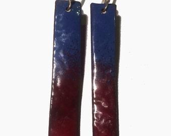 Handmade enamel blue and dark red drop earrings