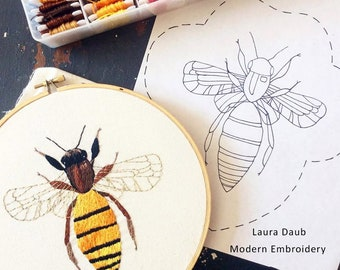 Artist Needlepoint Design - DIY Modern Embroidery Digital Pattern PDF - Bee 1