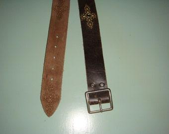 Vintage Leather Chocolate Brown Hand Tooled Studded Belt