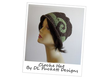 Woman's Green and Brown Cloche Hat With Accent