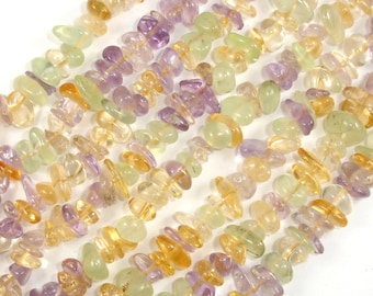 Mixed Quartz- Amethyst, Citrine, Prehnite, Approx 4mm-10mm Pebble Chips Beads, 16 Inch, Full strand, Hole 0.8mm, A+ quality (318005001)