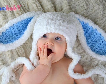 White Bunny Hats Easter Hat Baby Bunny Ears Beanie Rabbit Hats for kids Easter clothes for baby