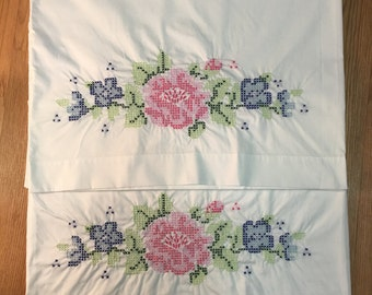 Set of 2 Hand Embroidered Floral Pillowcases