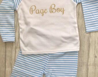 Boy's Page Boy Blue & White striped Pyjama set Top/Pants, Boys Pjs, Sleepwear, Wedding, Love, Present, Smart, Engagement Keepsake Gift