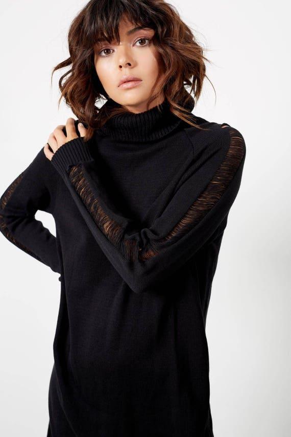 Dress Black Turtleneck Boho Fall Knit Dress Sweater Winter clothing Clothing Dresses Dresses Sweater Sexy Fall Womens Dress Black r7PvrWa6q