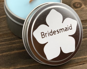 Bridesmaid Soy Candle - Wood Wick Soy Travel Candle - Burns for over 40 hours!