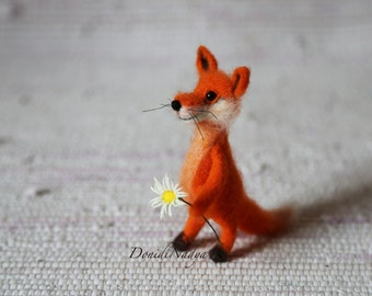 Fox needle felted small doll.
