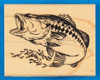 Jumping Fish Rubber Stamp by Inkadinkado - Largemouth Bass - Inkadinkado #95130
