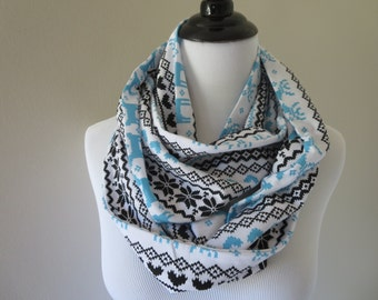 Fair Isle Scarf - Reindeer Scarf - Outdoors Gift - Turquoise & Charcoal Infinity Scarf - Winter Scarf - Christmas Scarf